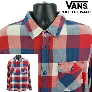 VANS Men's XL Flannel Button Shirt Red Blue Plaid